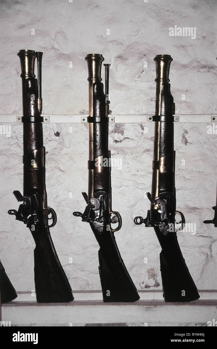 weapons, rifle, short rifles with flintlock, Arsenale Venice, Additional-Rights-Clearance-Info-Not-Available - Stock Image