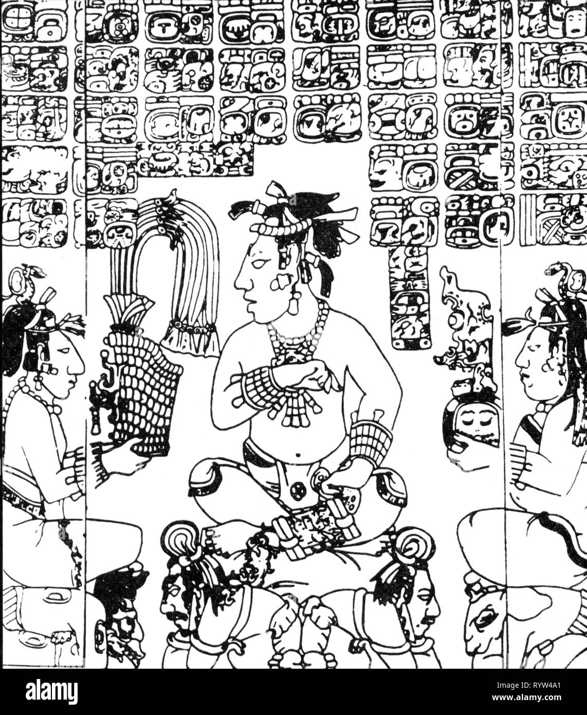 slavery, Maya, high dignitary and slaves, based on relief, Palenque, Mexico, circa 7th century, writing, script, scripts, South America, America, Mayan culture, pictography, slaveholder, slave owner, slaver, slaveholders, slave owners, slavers, character, characters, inscription, epigraphs, inscriptions, crown, crowns, Precolumbian, pre Colombian, people, slavery, slaveries, high, highly, dignitary, dignitaries, slaves, slave, historic, historical, Artist's Copyright has not to be cleared - Stock Image