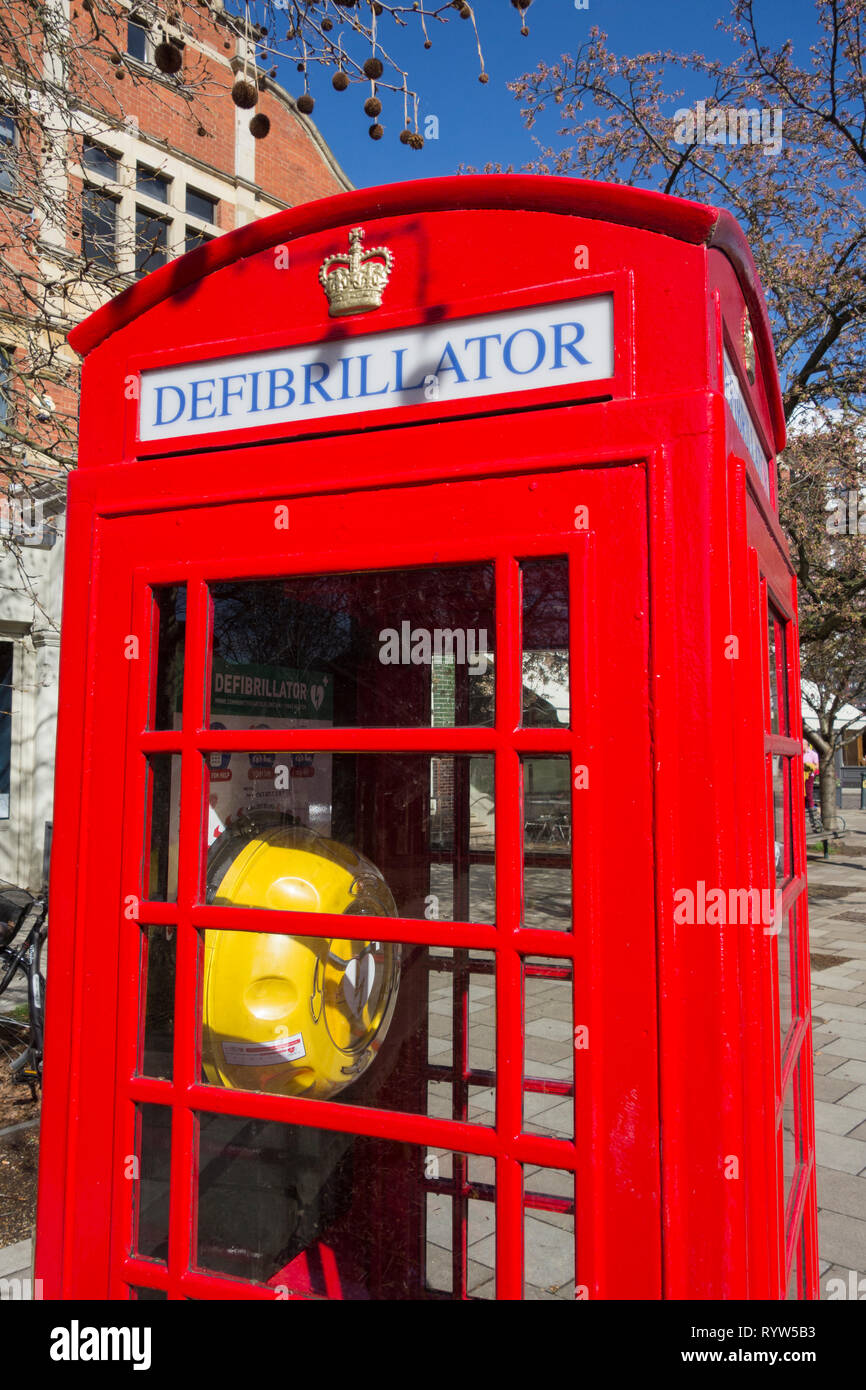 00bd5b53db4 A converted Sir Giles Gilbert Scott K6 phone box now used to store a  defibrillator in