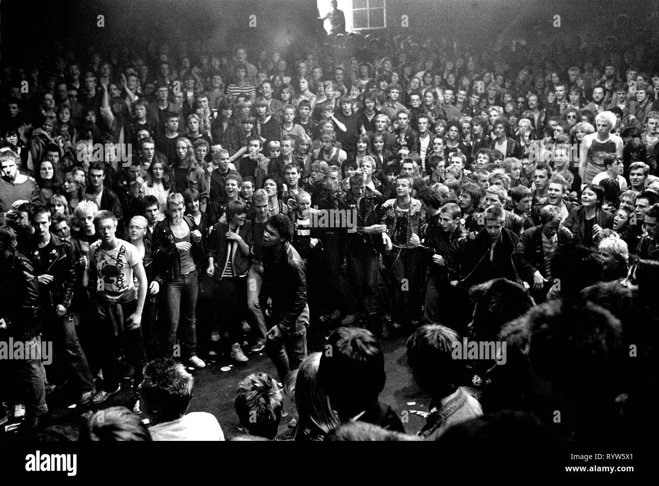 Riot during the concert of the British punk band The Clash in the Markthalle of Hamburg. 1981 - Stock Image