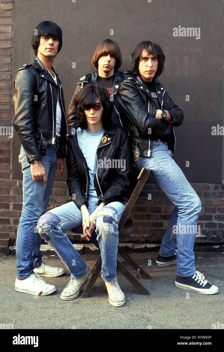 Members of the American rock band Les Ramones after the shooting of the German TV show Musikladen. From left to right: Dee Dee Dee Ramone, Joey Ramone, Johnny Ramone, Marky Ramone. Bremen, 10 September 1978 - Stock Image