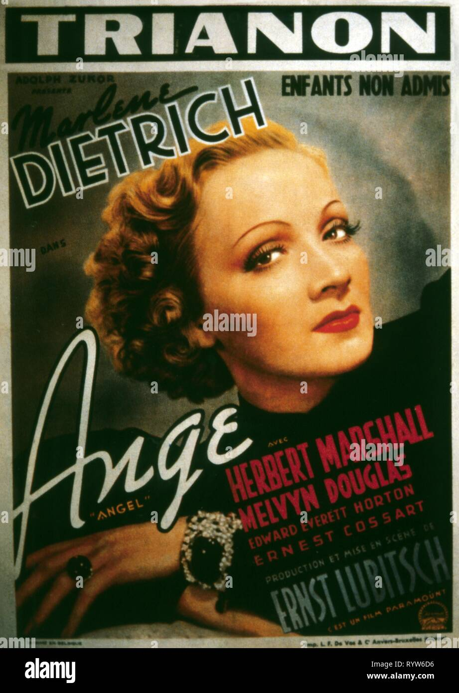 Angel  Year : 1937 USA Director : Ernst Lubitsch Marlene Dietrich Poster (Fr) - Stock Image