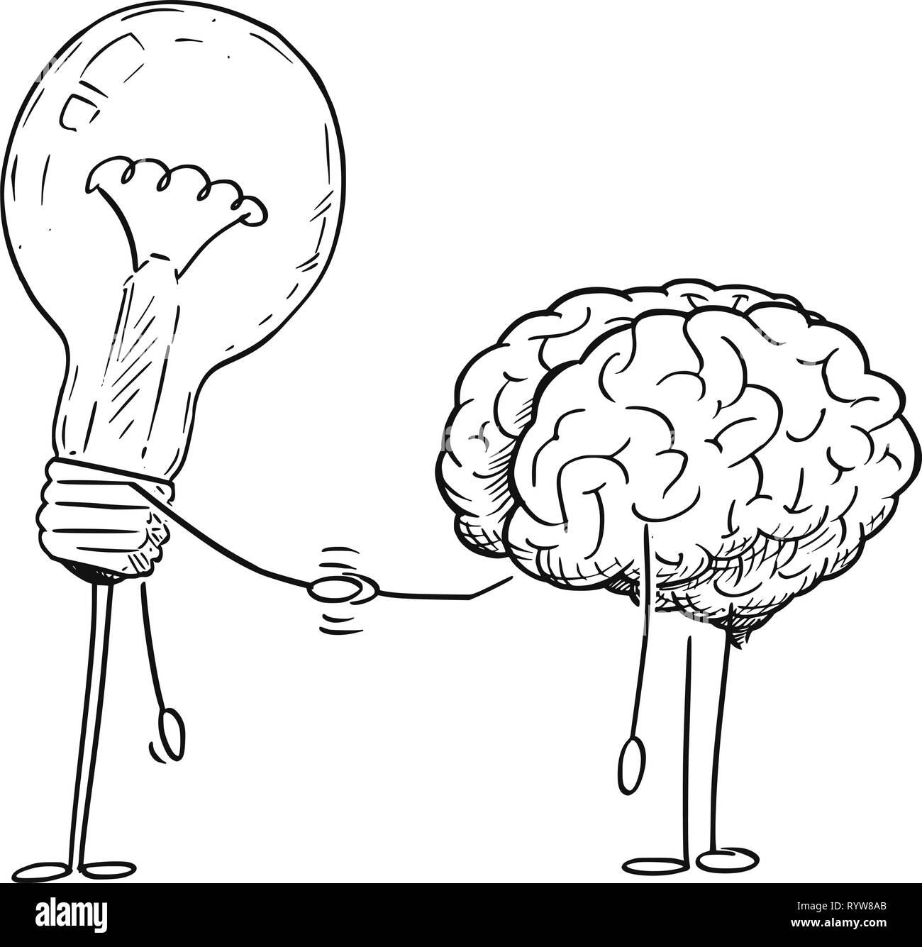 Cartoon Drawing of Brain and Lightbulb Characters Shaking Hands - Stock Image