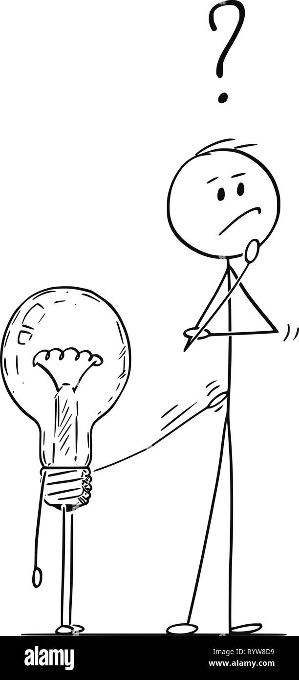 Cartoon of Man or Businessman Thinking About Problem, Light Bulb is Tapping on Him - Stock Image