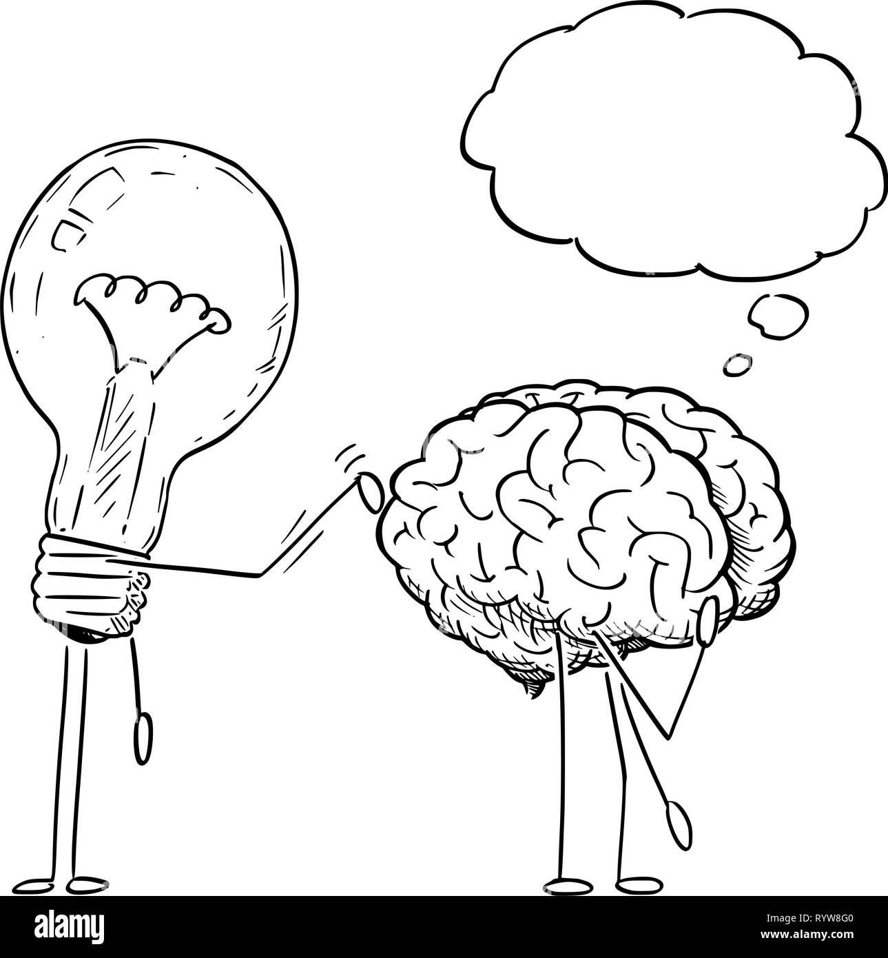 Cartoon Drawing of Lightbulb Characters Taping on Back of Thinking Brain - Stock Image