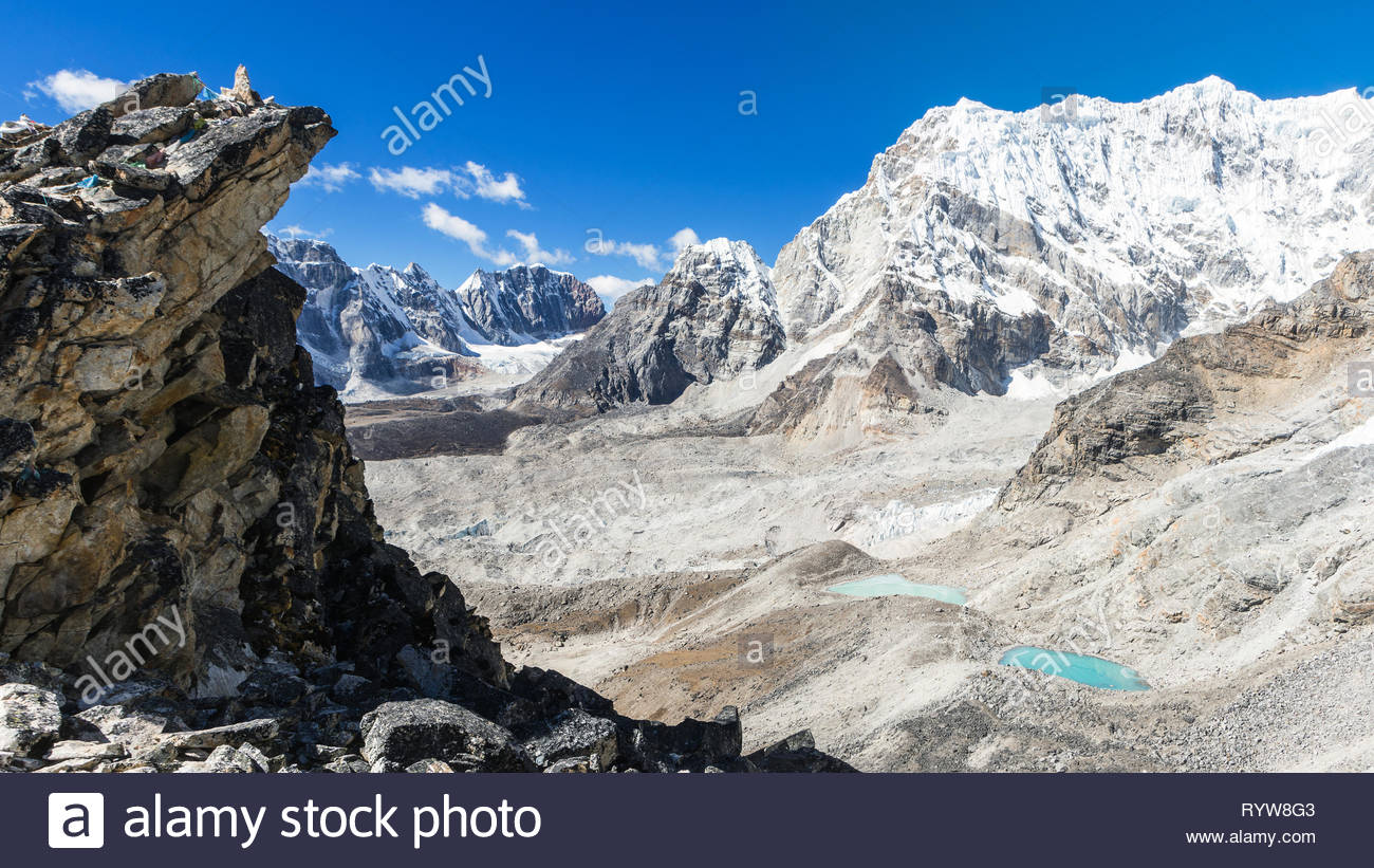 View from Kala Patthar to the west, Khumbu valley, Sagarmatha National Park, Nepal - Stock Image