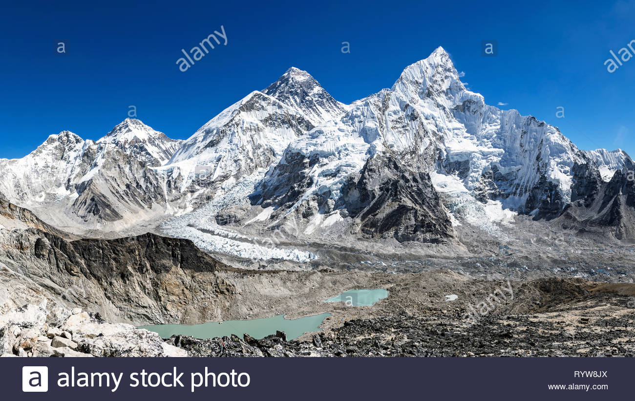 Panoramic view of Mount Everest, Nuptse and Khumbu Icefalls from Kala Patthar, Sagarmatha National Park, Nepal - Stock Image