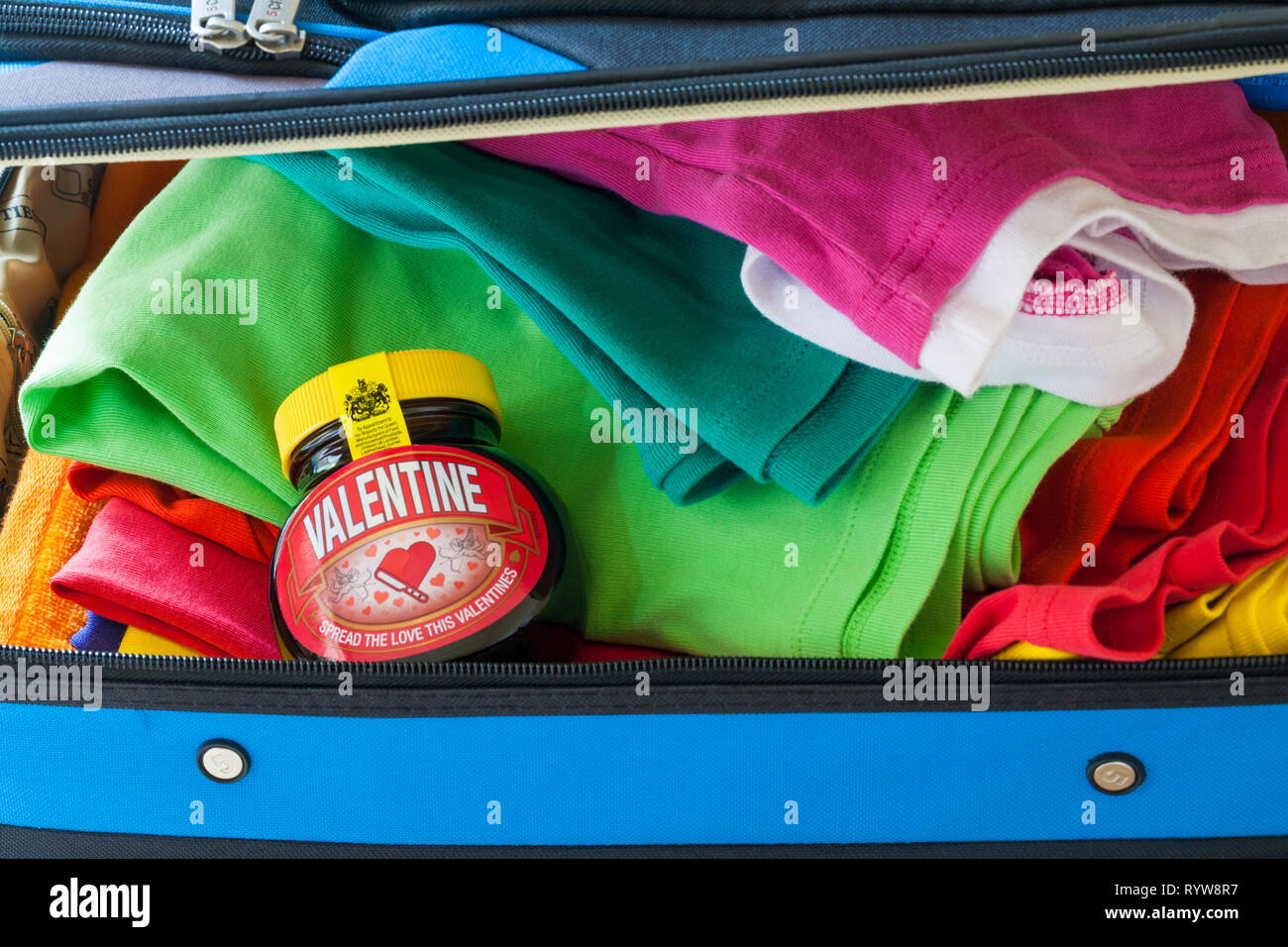 Special edition jar of Valentine Marmite by Unilever, spread the love this Valentines, packed in suitcase ready for holiday Stock Photo