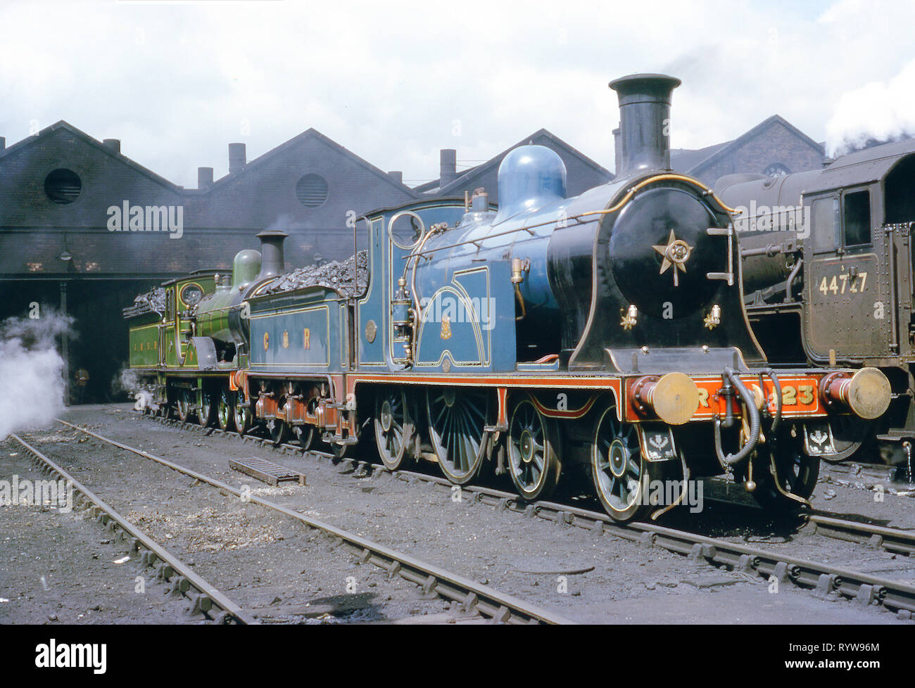 Great North of Scotland Railway Loco No 49 and Caledonian Railway Loco No 123 on Kingmoor Shed, Carlisle England on 15th June 1964 - Stock Image