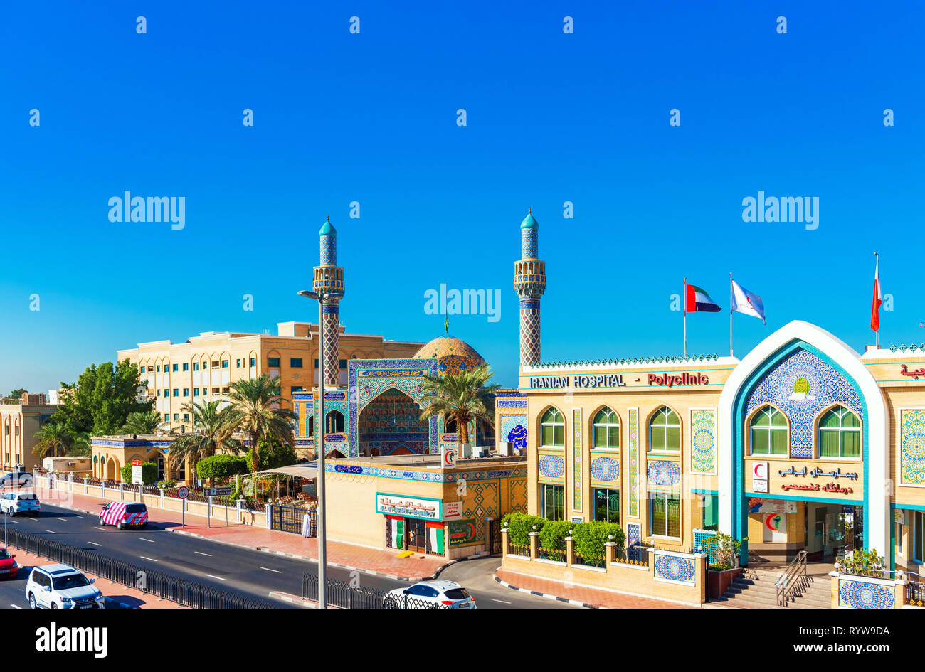 DUBAI, UNITED ARAB EMIRATES - DECEMBER 13, 2018: Iranian Mosque on the city street. Copy space for text - Stock Image