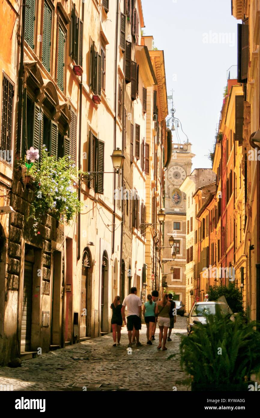 Small residential street in Rome Italy on a sunny day Stock Photo
