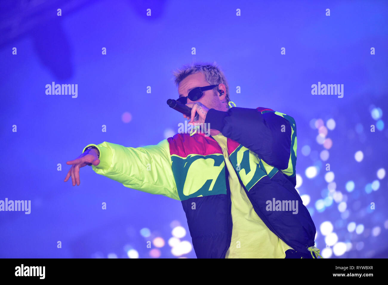 "Napoli, Italy. 14th Mar, 2019. The Italian rapper Maurizio Pisciottu aka Salmo performing live on stage for his ""Playlist"" tour concert in Napoli at the Palapartenope in front a sold out venue. Credit: Paola Visone/Pacific Press/Alamy Live News Stock Photo"