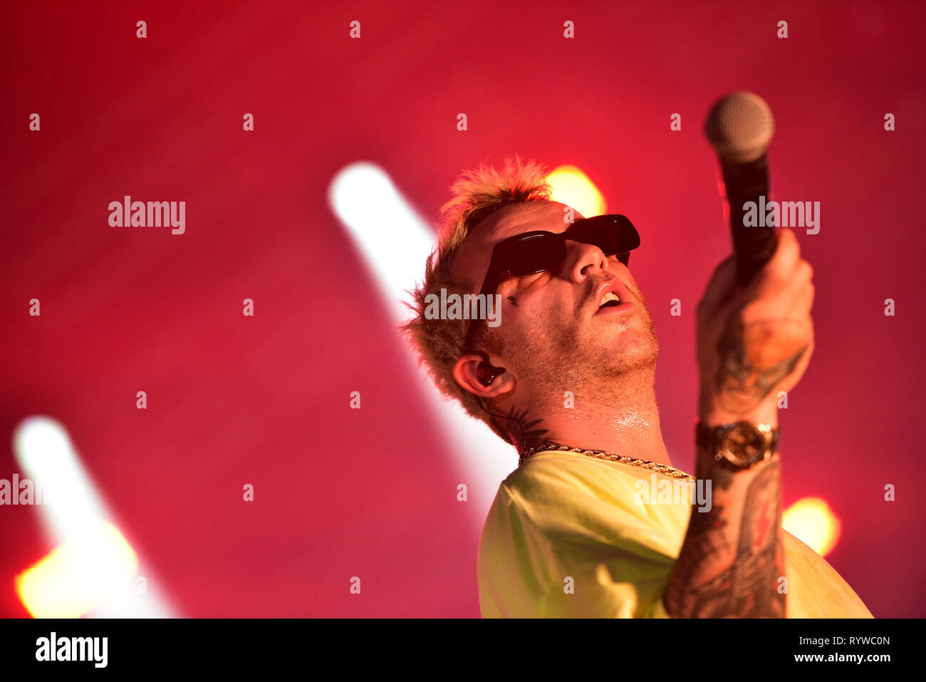 """Napoli, Italy. 14th Mar, 2019. The Italian rapper Maurizio Pisciottu aka Salmo performing live on stage for his """"Playlist"""" tour concert in Napoli at the Palapartenope in front a sold out venue. Credit: Paola Visone/Pacific Press/Alamy Live News Stock Photo"""