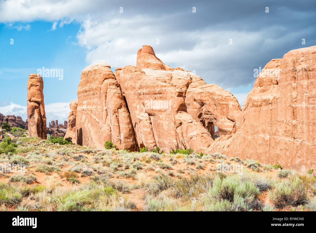 Stock photograph of rock formations in Arches National Park, Utah, USA on a sunny day. - Stock Image