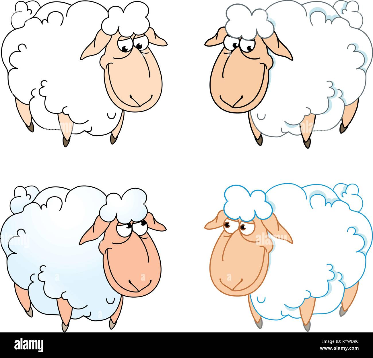 The illustration shows a few funny cartoon sheep isolated on a white background, on separate layers. - Stock Image