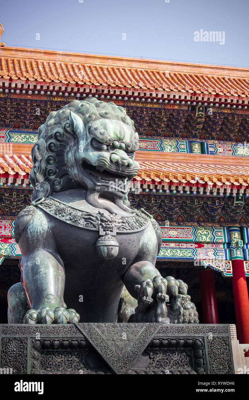 statue of chinese guardian lion forbidden city beijing china (palace museum) Stock Photo