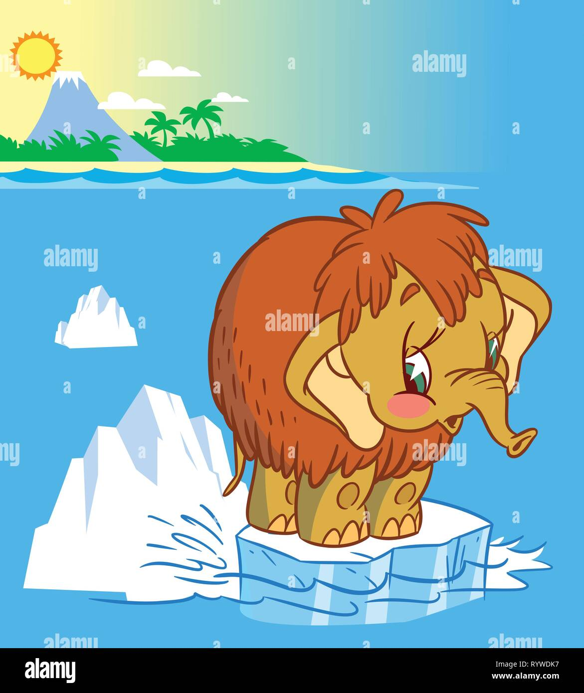 The illustration shows the baby mammoth. It stands on an ice floe in the middle of the ocean. Illustration done in cartoon style - Stock Image