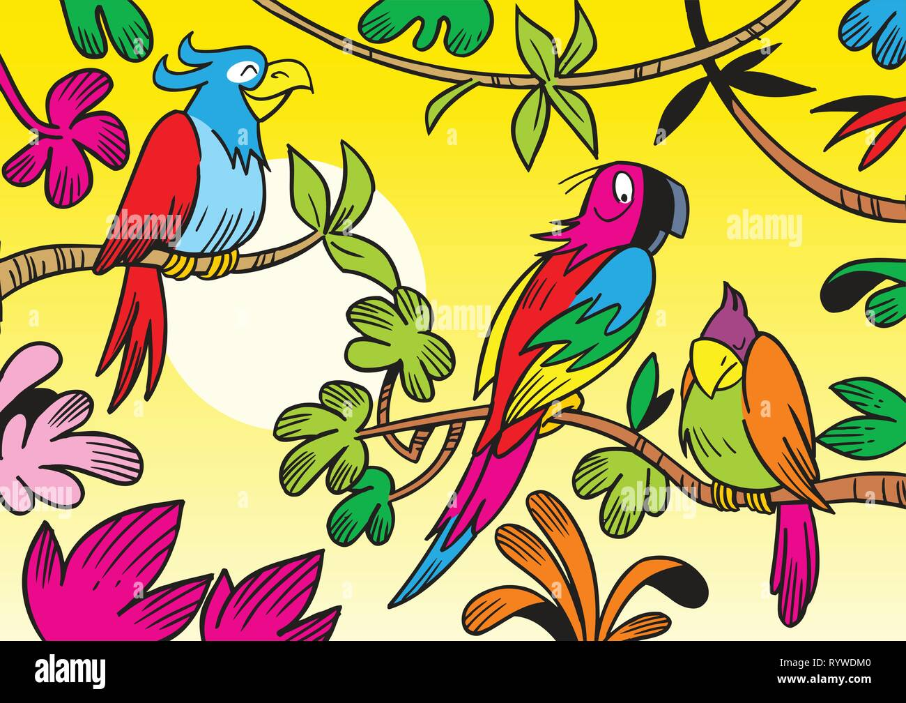 The illustration shows some beautiful tropical parrots. Illustration done in cartoon style. - Stock Vector