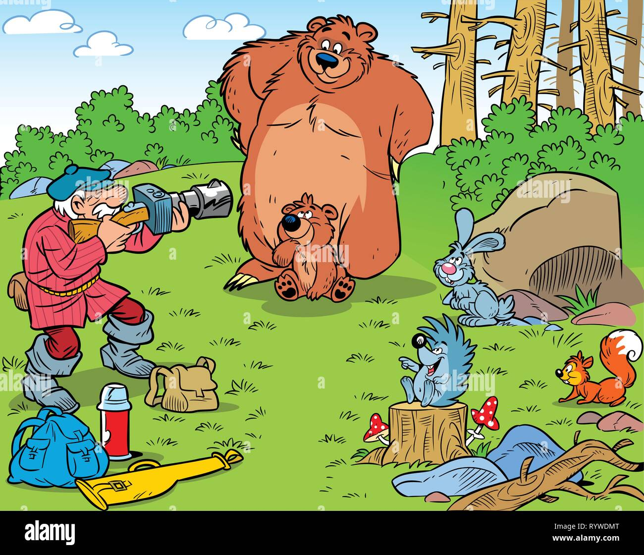 The illustration shows a hunter photographing wild animals. Illustration done in an amusing cartoon style. - Stock Vector