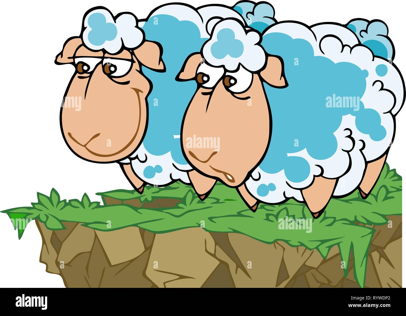 In the vector illustration, two cartoon funny sheep in a meadow. - Stock Vector