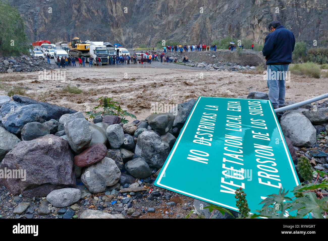 Churin, Lima. February 13, 2019 - alluvium occurred on the road from Lima to Churin, this natural disaster prevented the passage leaving affected many - Stock Image