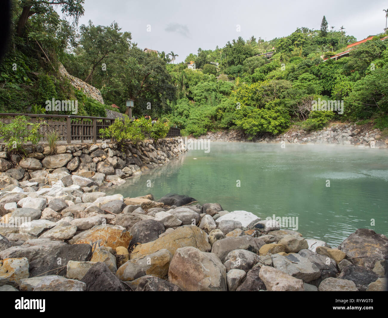 Xinbeitou, Taiwan - October 06, 2016: The natural hot springs of boiling water. Asia. - Stock Image