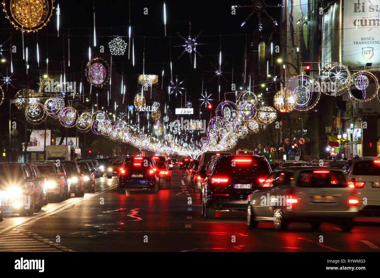 Bucharest, Romania - December 03, 2016: Cars are trapped in traffic jam because of the large number of people who went out with their cars to see the  - Stock Image