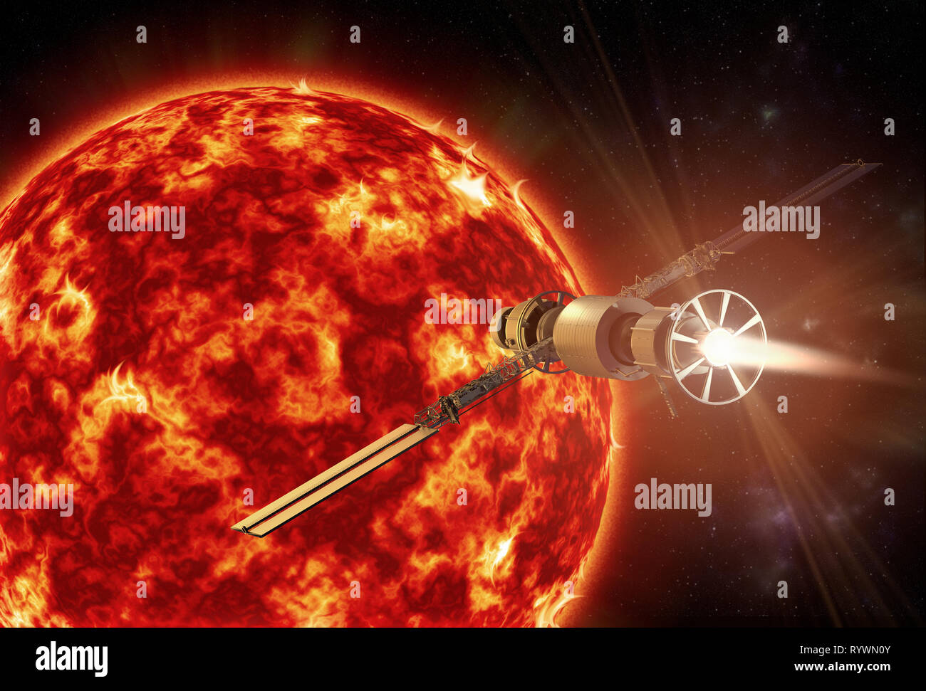 3D rendering of a spacecraft approaching the sun - Stock Image