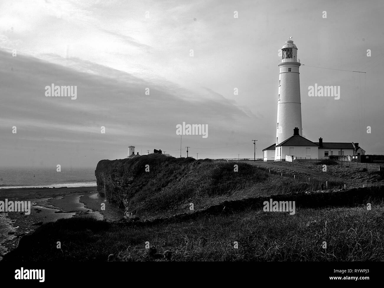 Nash Point Lighthouse situated on the Heritage Coast, South Wales, UK - Stock Image