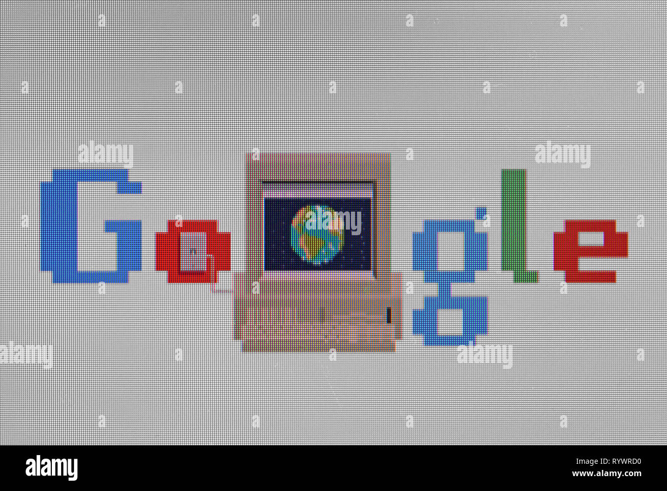 Special google logo tribute to Internet, World Wide Web anniversary - Stock Image