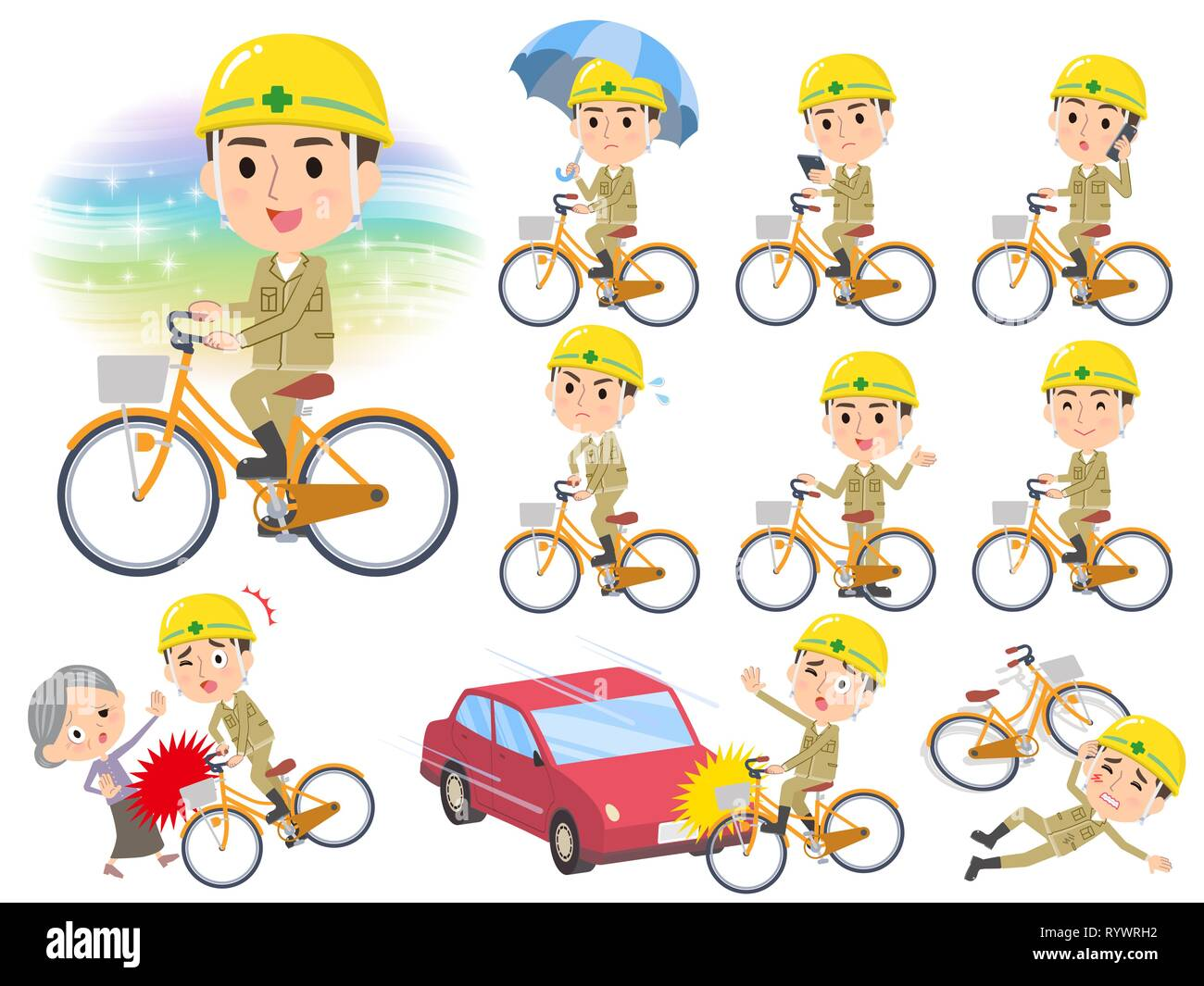 A set of working man riding a city cycle.There are actions on manners and troubles.It's vector art so it's easy to edit. - Stock Vector