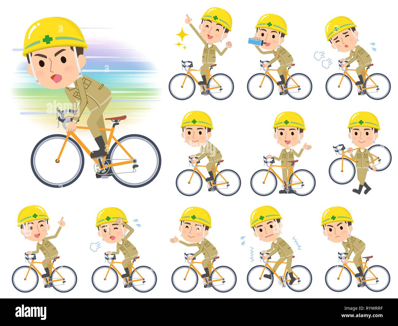 A set of working man on a road bike.There is an action that is enjoying.It's vector art so it's easy to edit. - Stock Vector