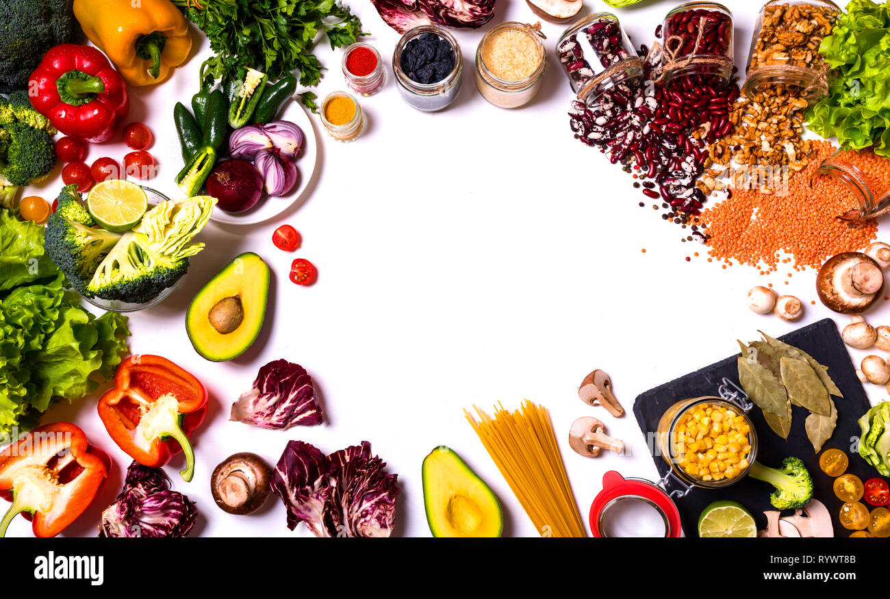 Fruit and vegetables, healthy food, dieting, flat lay on