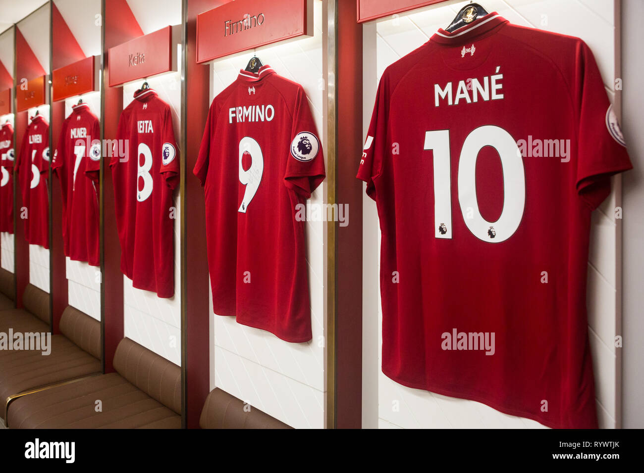 5d625f9904b 2018/19 season Premier League team squad players red kit shirts hanging in  home team