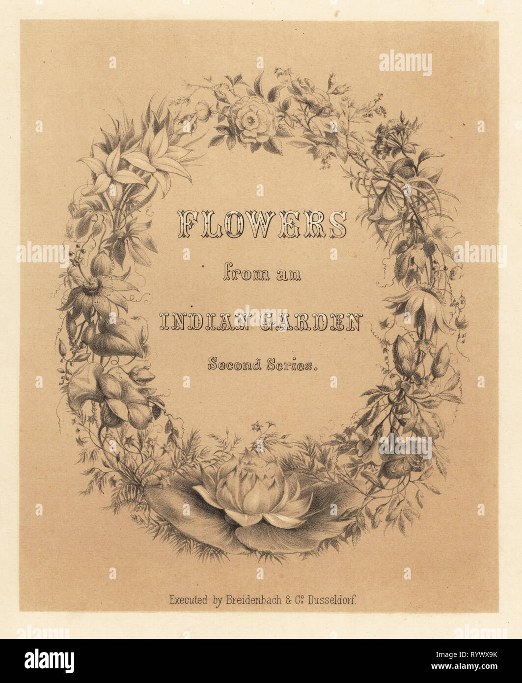Calligraphic title page with wreath of flowers. Tinted lithograph from Emily Eden's Flowers from an Indian Garden: Second Series: Hope, Breidenbach & Co, Dusseldorf, 1860s. Eden was an English female aristocratic writer, novelist and traveler who accompanied her brother George in India from 1836 to 1842. - Stock Image