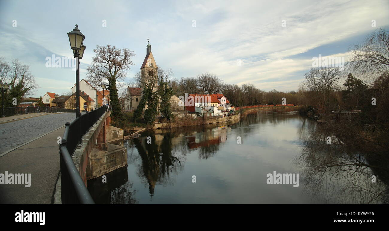 View over Saale river with Church Saint Thomae in Merseburg, Germany. - Stock Image