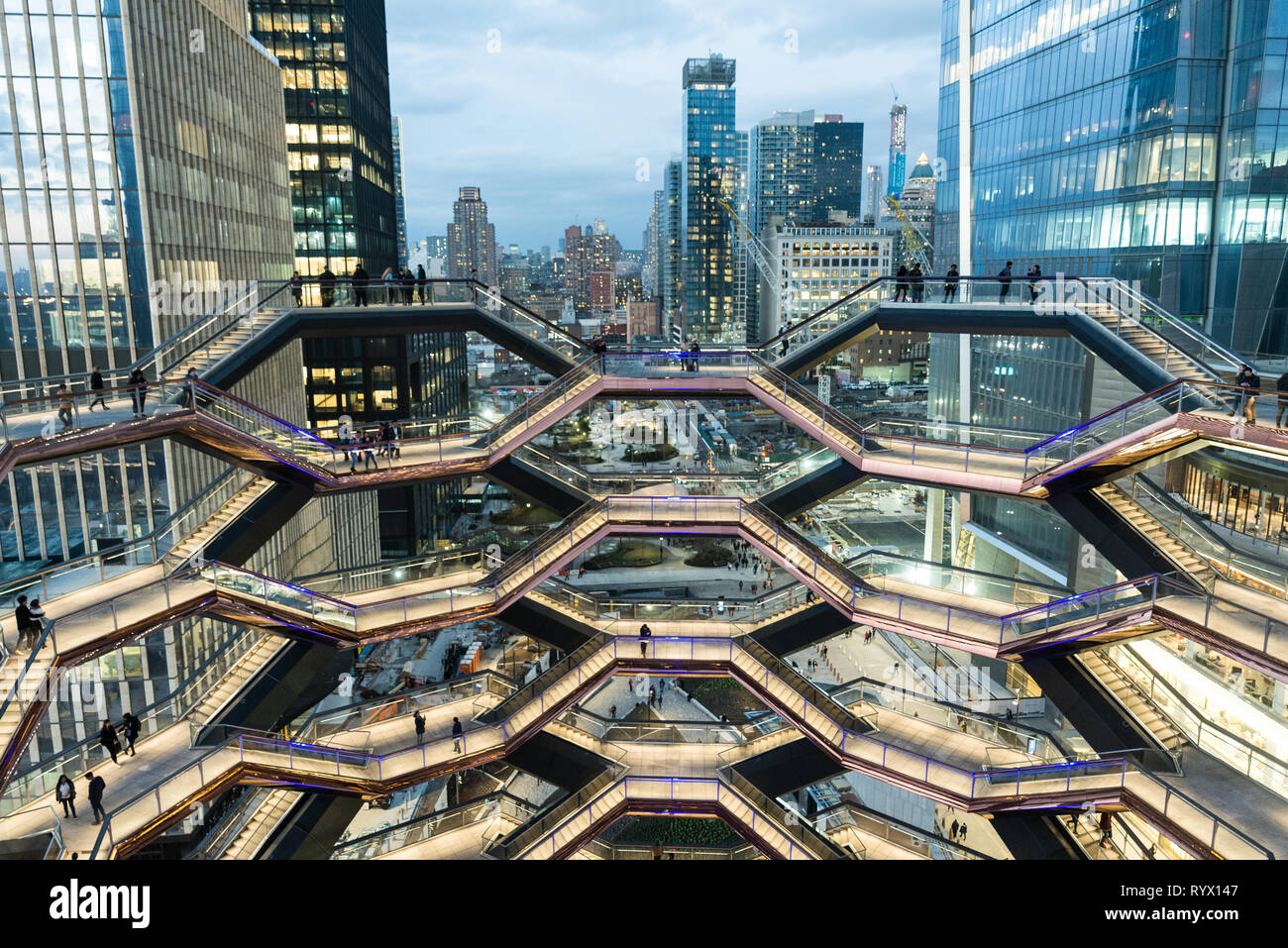 New York, NY - March 15 2019: The Vessel Building in Hudson Yards Manhattan Opened to vistors to see the inside of it's abstract shapes. There are end Stock Photo