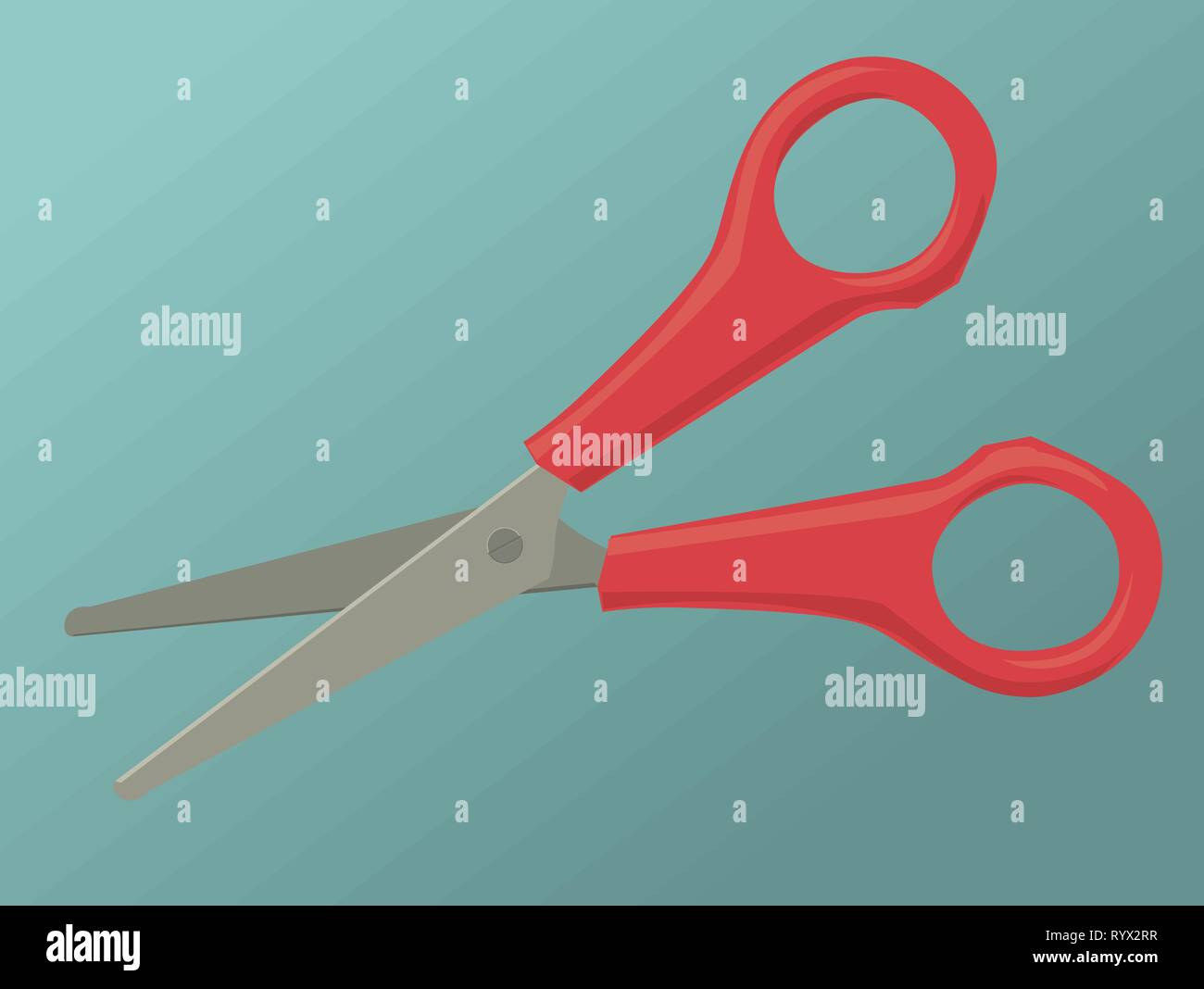 A pair of red scissors in an open position - Stock Vector