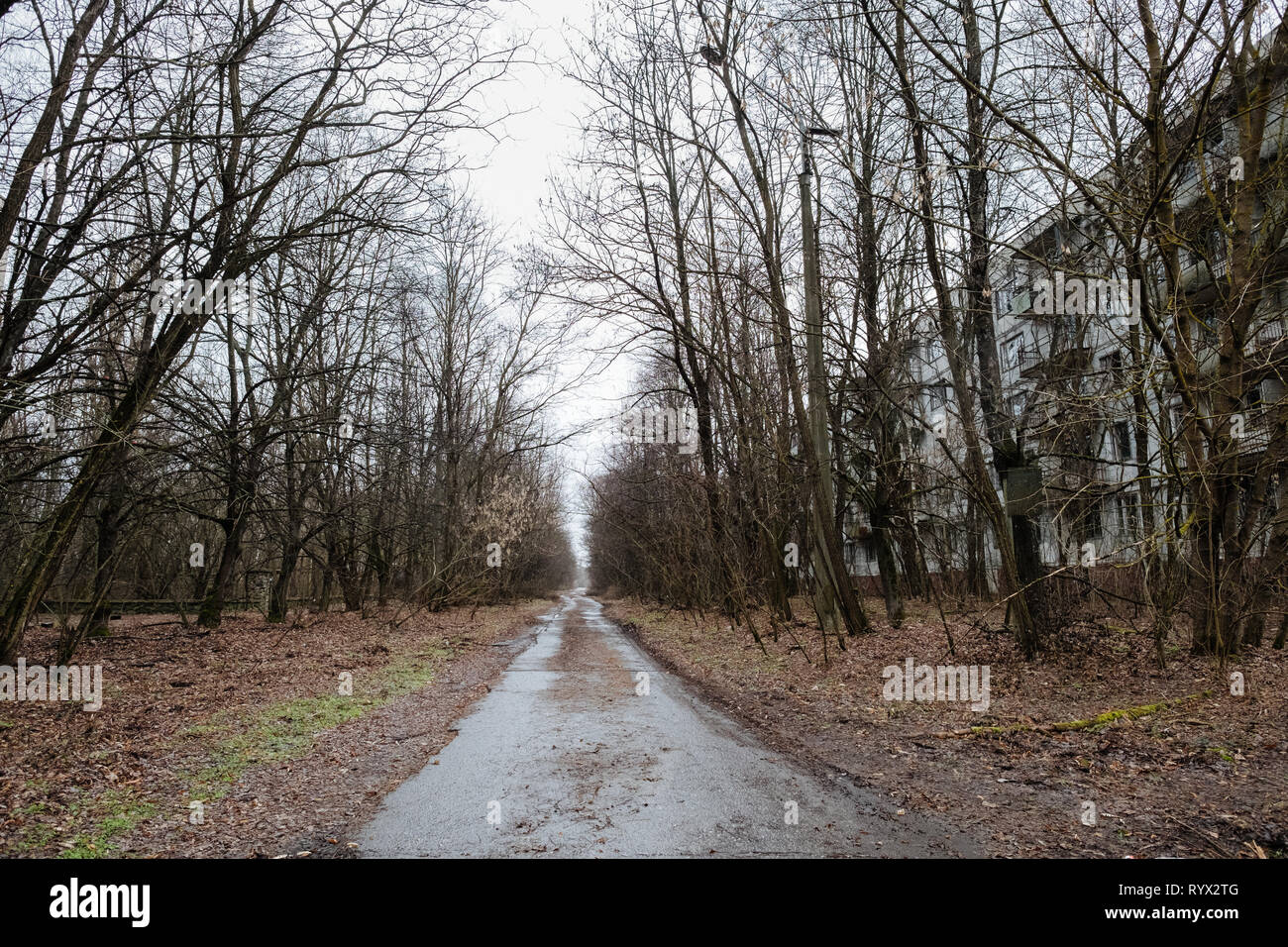 The abandoned city of Pripyat, Chernobyl nuclear power plant disaster exclusion zone, Ukraine. - Stock Image