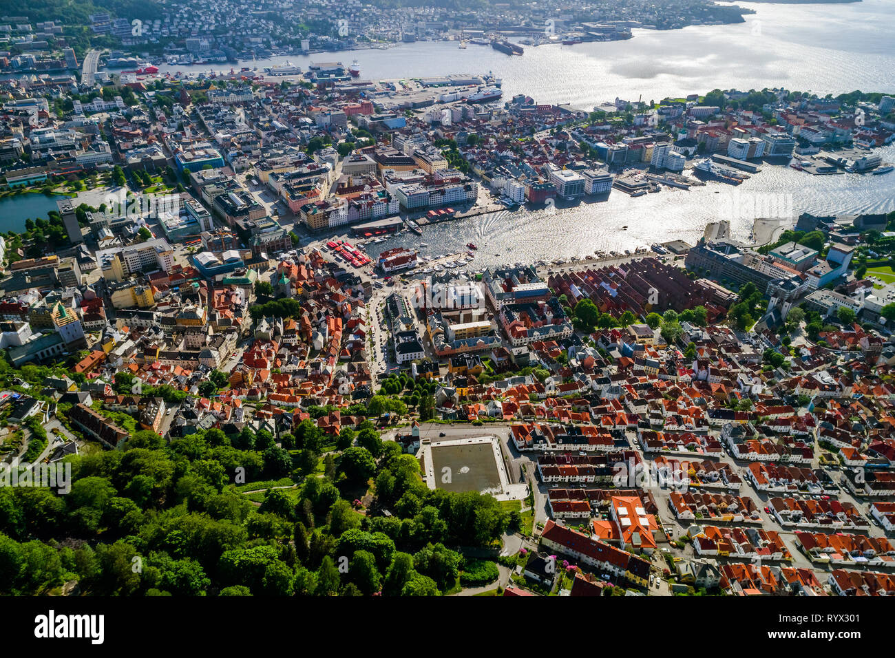 Bergen is a city and municipality in Hordaland on the west coast of Norway. Bergen is the second-largest city in Norway. The view from the height of b - Stock Image