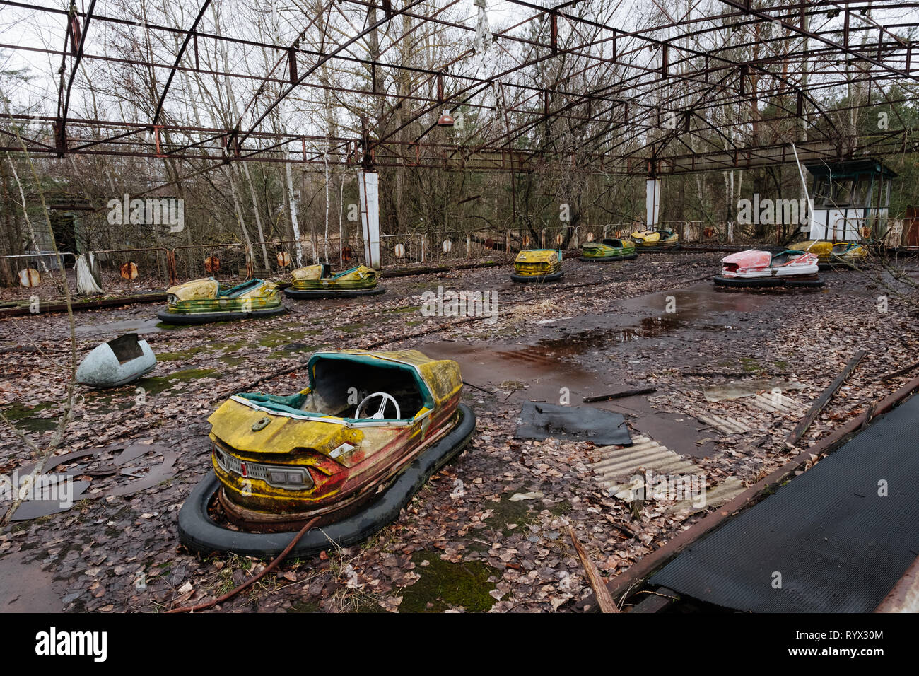 never opened amusement park in the abandoned city of Pripyat, Chernobyl nuclear power plant disaster exclusion zone, Ukraine. - Stock Image