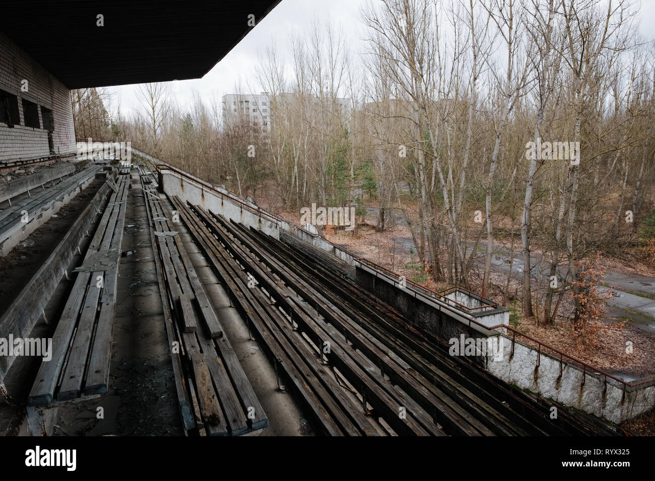 football stadium in the abandoned city of Pripyat, Chernobyl nuclear power plant disaster exclusion zone, Ukraine. - Stock Image