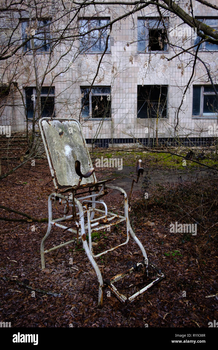 Hospital in the deserted city of Pripyat, Chernobyl nuclear power plant disaster exclusion zone, Ukraine. - Stock Image