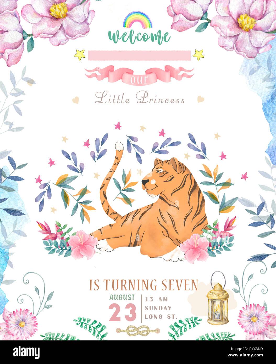 Happy Birthday Card With Cute Tiger Watercolor Animal Cute Baby