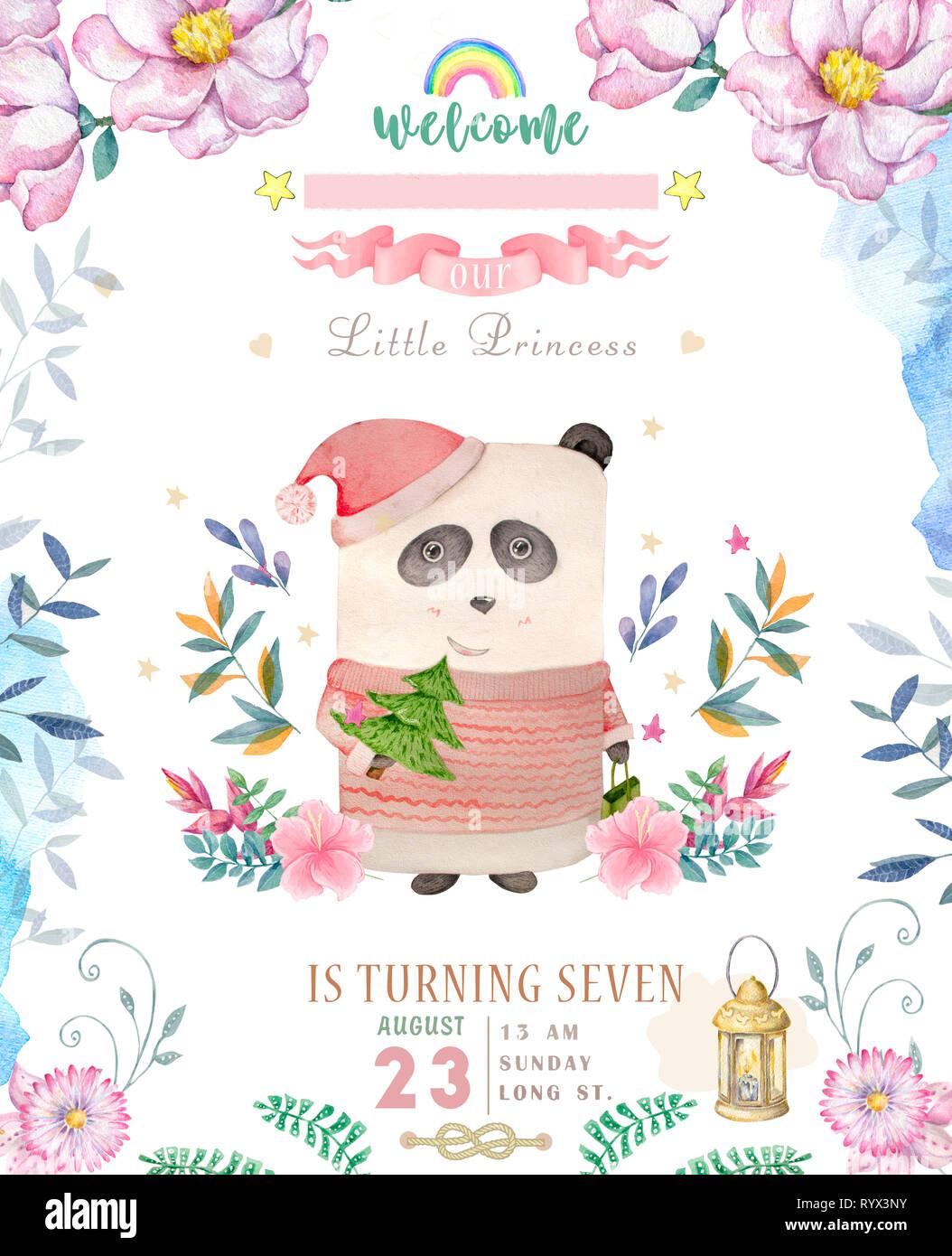 Happy Birthday Card With Cute Panda Bear. Vector Illustration. Royalty Free  Cliparts, Vectors, And Stock Illustration. Image 78624403.