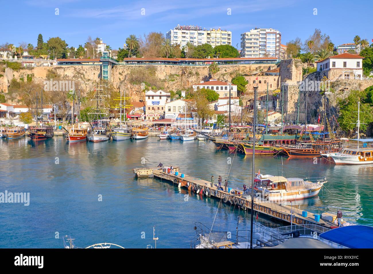 Antalya marina as seen from the city ramparts. Antalya, Turkey - Stock Photo