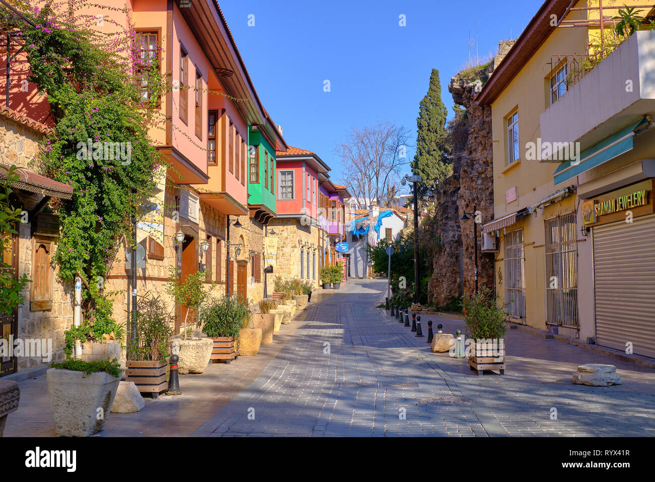 Antalya old town street with typical architecture. Antalya, Turkey - Stock Photo