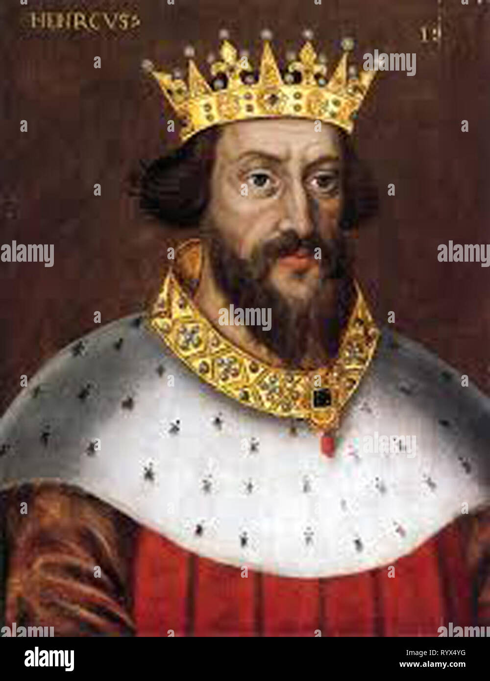 King Henry  Henry I, also known as Henry Beauclerc, was King of England from 1100 to his death in 1135. Henry was the fourth son of William the Conqueror and was educated in Latin and the liberal arts - Stock Image