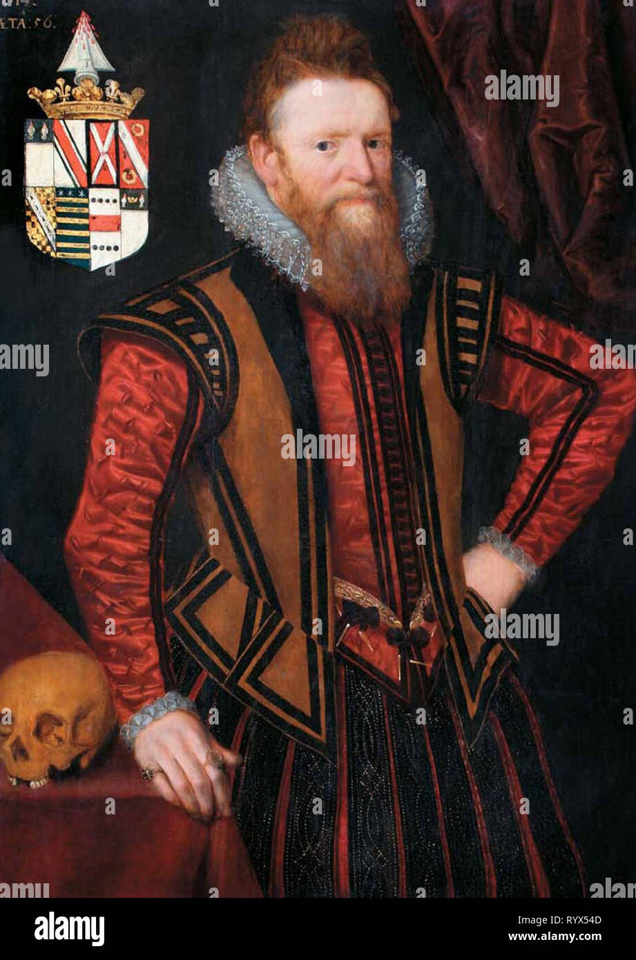 Sir_William_Brodrick_1614   portrait painting and the urban elite of Tudor and Jacobean England and Wales, - Stock Image