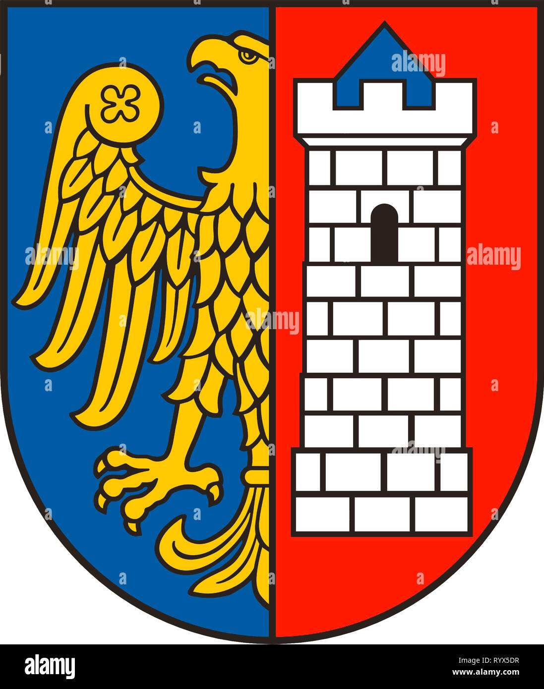 Coat of arms of the Polish city of Gliwice - Poland. - Stock Image